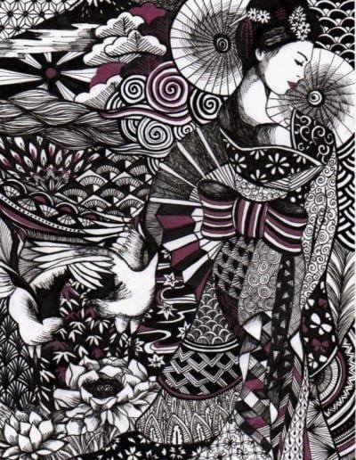 dessin de Geisha en Zentangle Inspired Art