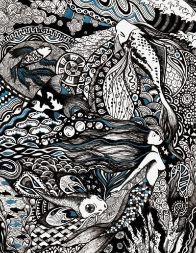 illustration en zentangle inspired sirène et poissons