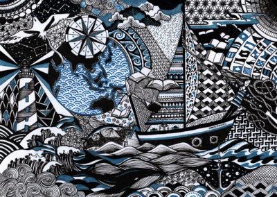 kannjawou le voilier bibliothèque illustration