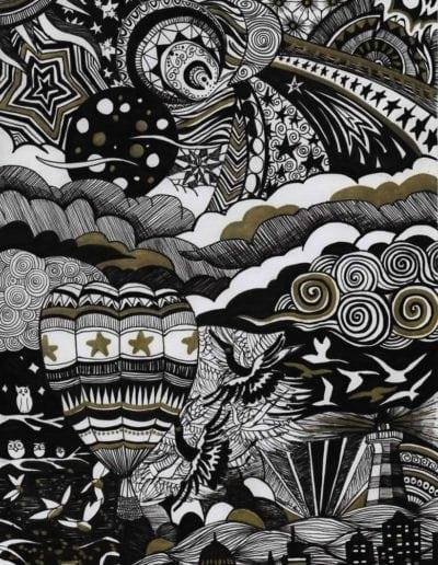 illustration en zentangle inspired art thème jour et nuit motifs célestes