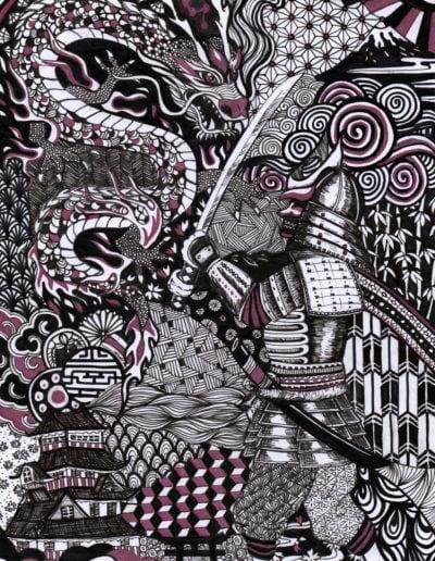 illustration en zentangle inspired art samouraï vs. dragon