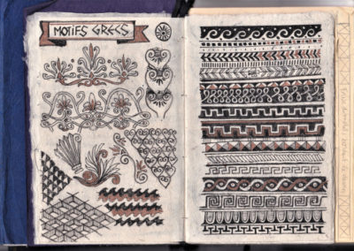 page de motifs grecs carnet de croquis