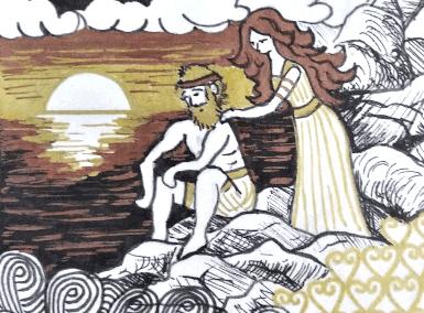 illustration odyssee épisode de Calypso