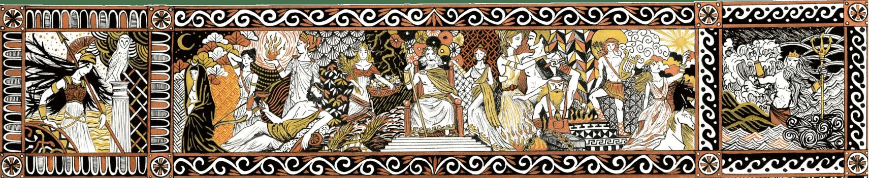 illustration et cartographie de l'Odyssée dieux de l'Olympe dieux grecs