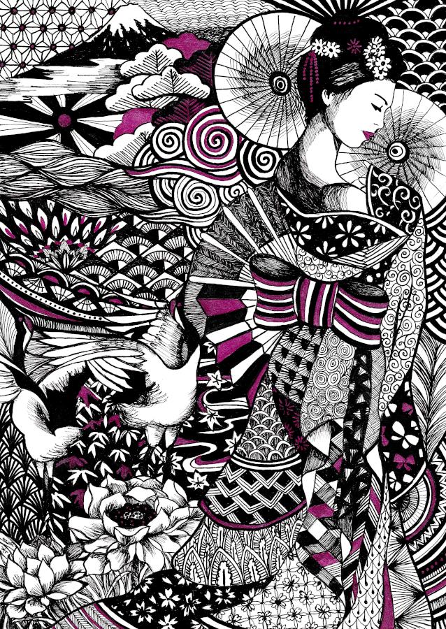 illustration Tote bag geisha Gaëlle Compozia