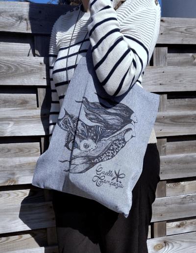 Tote bag illustré sirène tote bag éco responsable coton recyclé