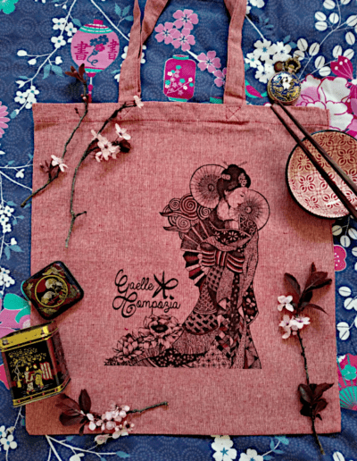 Tote bag illustré geisha tote bag éco responsable coton recyclé